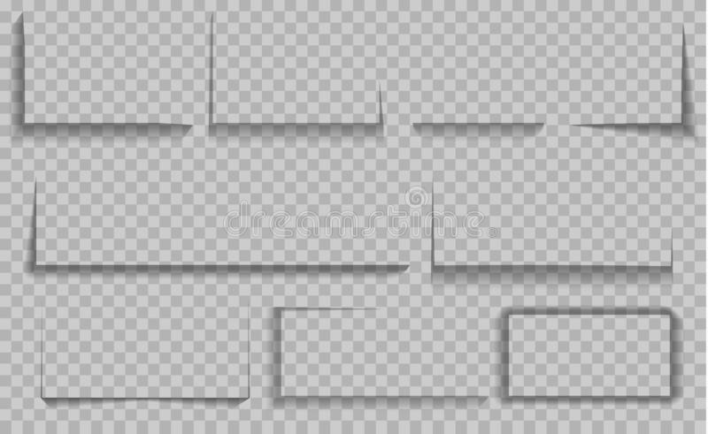 Vector ge?soleerde schaduwen Reeks ronde en vierkante schaduwgevolgen vector illustratie