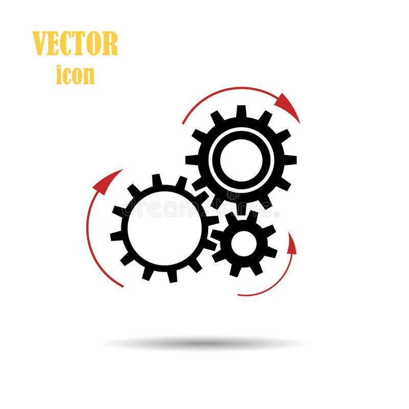 Vector gear arrows pointing the direction of rotation. Flat. The concept of the Loading process. Application update. Work of mecha vector illustration