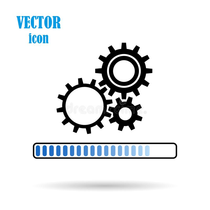 Vector gear, flat icon, on isolated white background. Loading process. Application update. Work of mechanical parts. Eps. stock illustration