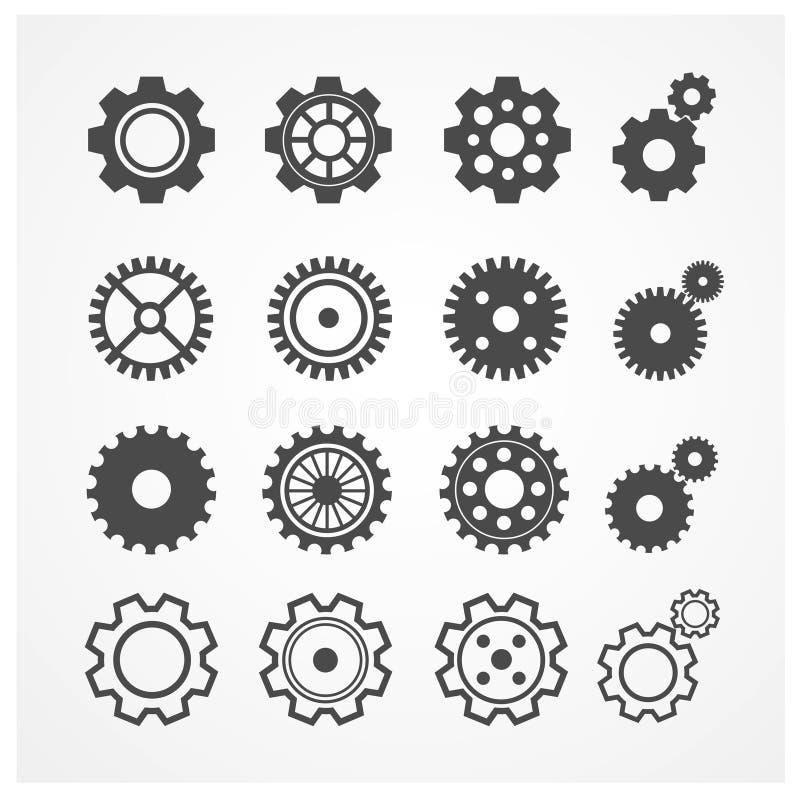 Vector gear icon set. Flat Design royalty free illustration