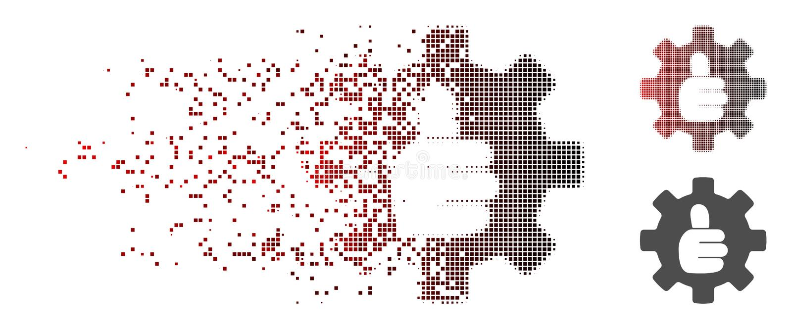 Damaged Pixel Halftone Gear Thumb OK Icon. Vector gear thumb OK icon in fractured, dotted halftone with red to black horizontal gradient and undamaged solid stock illustration