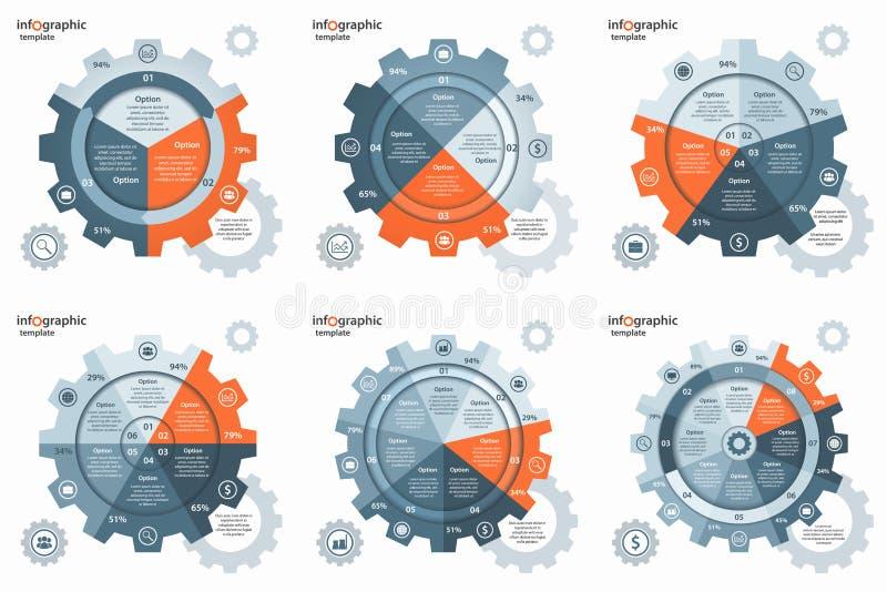 Vector gear wheel cogwheel circle infographic set. royalty free illustration