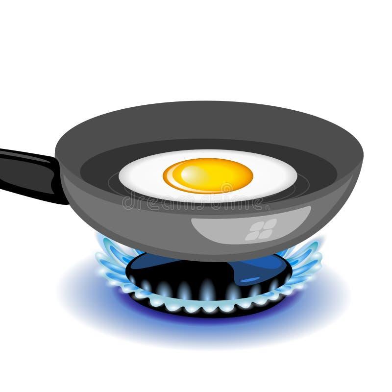 Vector gebraden ei op een pan stock illustratie