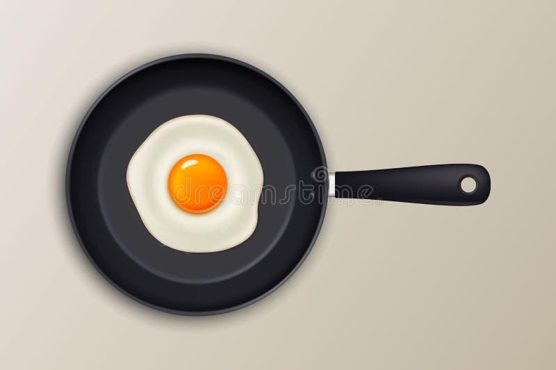 Vector gebraden ei op een zwarte pan Geïsoleerd op witte achtergrond stock illustratie