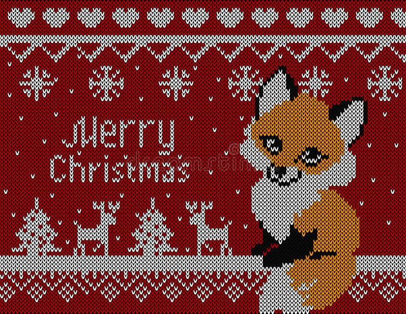 Vector gebreide Kerstmiskaart met vosherten en boom Rode achtergrond, Kerstmisbehang 2016 stock illustratie
