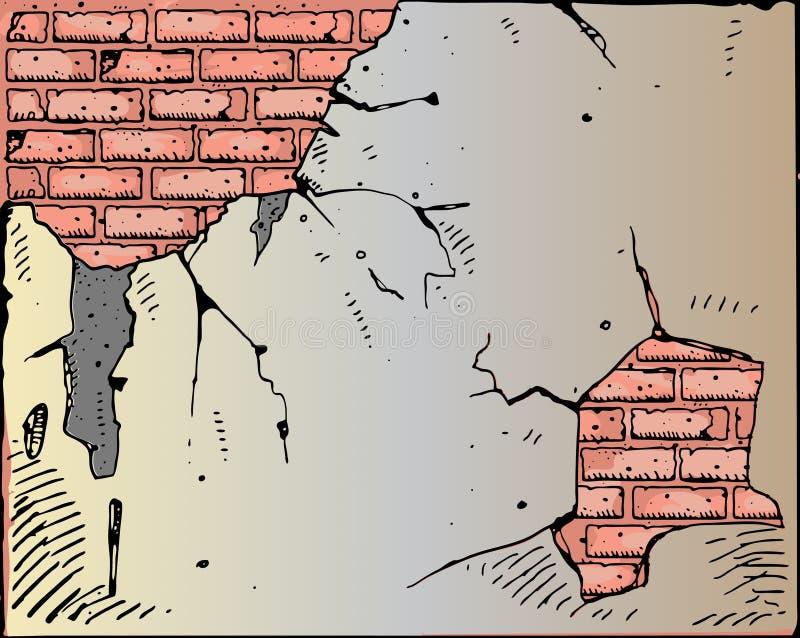 Vector gebroken bakstenen muur vector illustratie