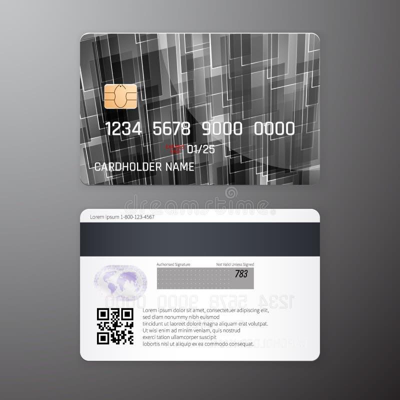 Vector gedetailleerde die creditcards met zwarte poligonal abstracte achtergrond worden geplaatst Voor en achterkantmalplaatje Ge royalty-vrije illustratie