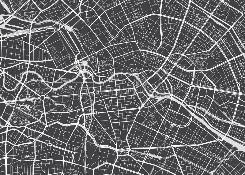 Vector gedetailleerde kaart Berlijn stock illustratie