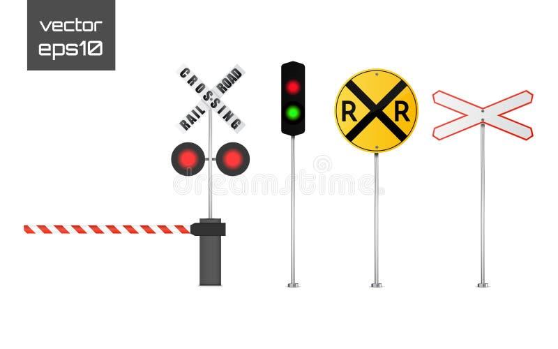 Vector gedetailleerde spoorwegwaarschuwingsborden op witte achtergrond royalty-vrije illustratie