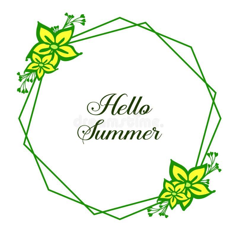Vector geel de bloemkader van de illustratietextuur met de decoratieve hello zomer royalty-vrije illustratie