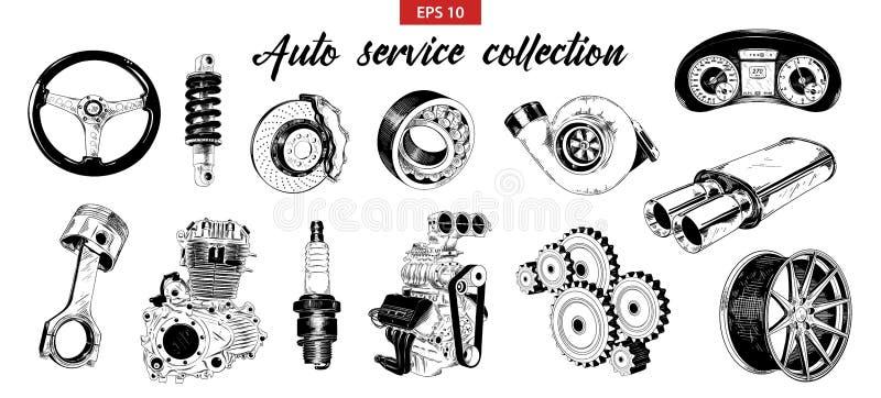 Vector gegraveerde stijlillustratie voor affiches, decoratie Hand getrokken schetsreeks auto of auto de dienstelementen vector illustratie