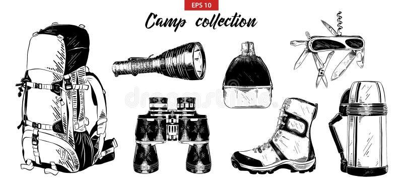 Vector gegraveerde stijlillustratie voor embleem, embleem, etiket of affiche Hand getrokken schetsreeks het kamperen elementen stock illustratie
