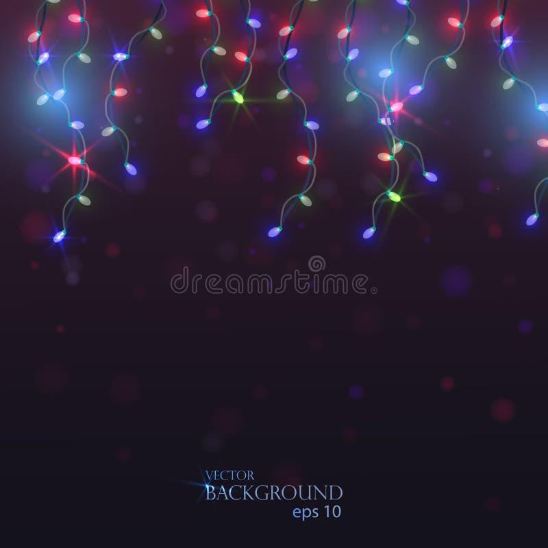 Vector gekleurd licht Slingers voor Kerstmis Feestelijke lichten han royalty-vrije illustratie
