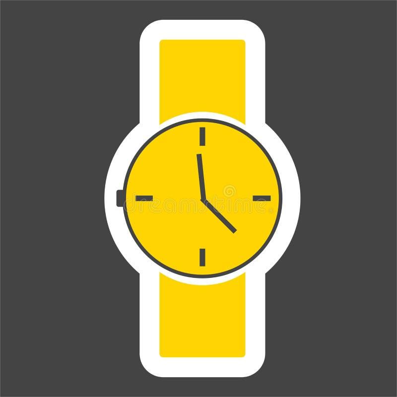Vector gekleurd stickerbeeld van polshorloge Het pictogram van de klok royalty-vrije illustratie