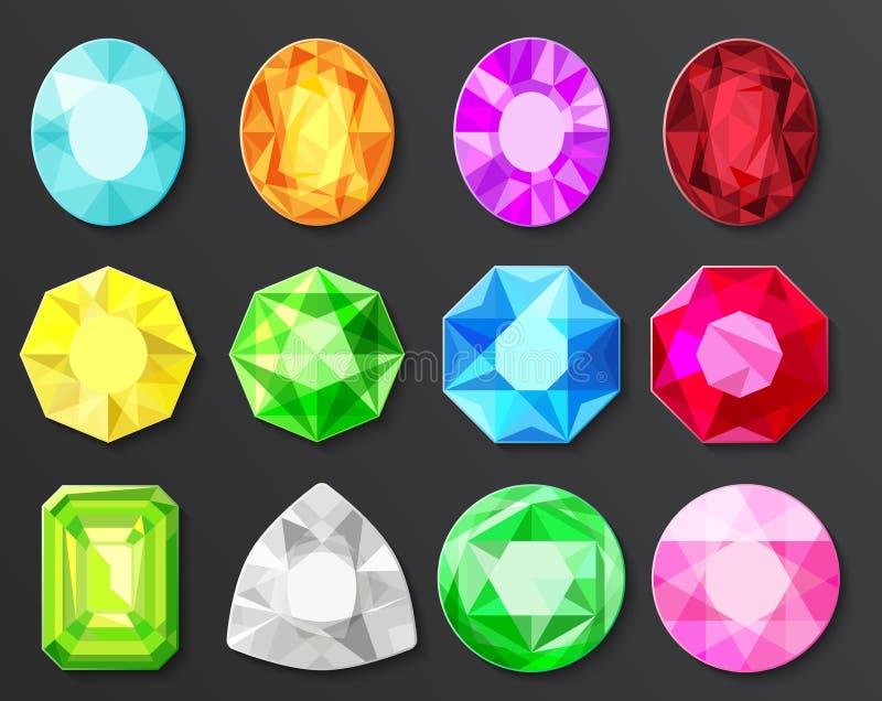 Vector Gekleurde gemmendiamanten geplaatst geïsoleerd stock illustratie