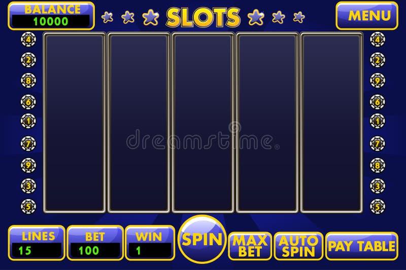 Vector gekleurde Interfacegokautomaat in blauw Volledig menu van graphical user interface en volledige reeks knopen voor stock illustratie