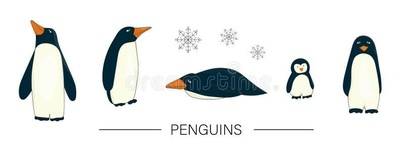 Vector gekleurde reeks leuke pinguïnen van de beeldverhaalstijl die op witte achtergrond wordt geïsoleerd vector illustratie
