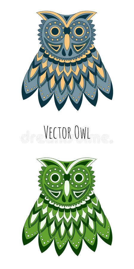 Vector gekleurde uil royalty-vrije stock fotografie