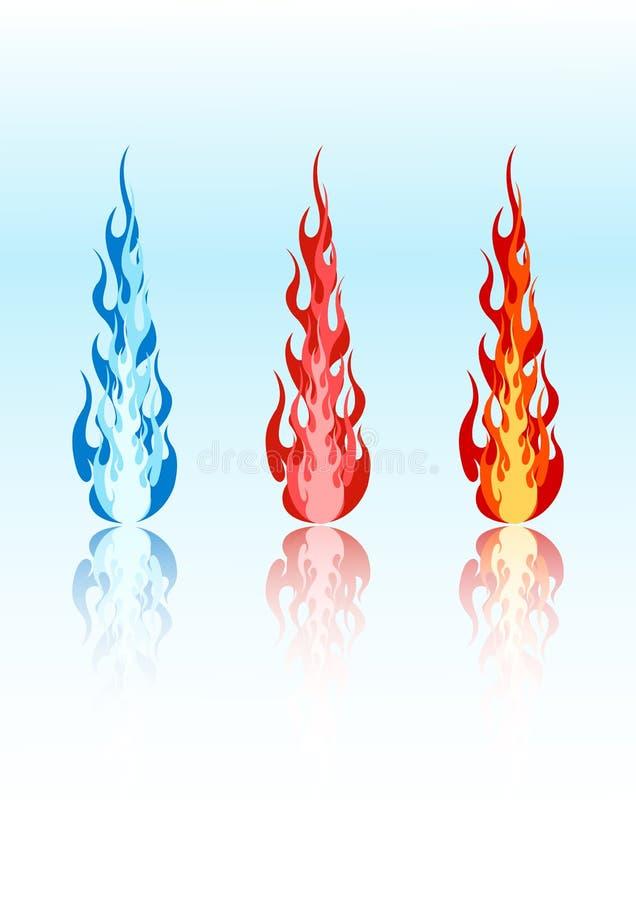 Vector gekleurde vlammen royalty-vrije illustratie