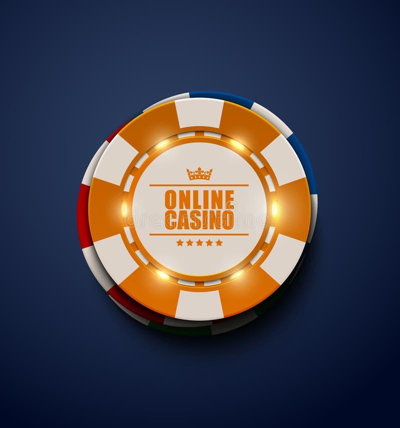 Vector gelbe Kasinopokerchips mit leuchtenden hellen Elementen, Draufsicht Dunkelblauer Hintergrund On-line-Kasino, Blackjackplak stock abbildung