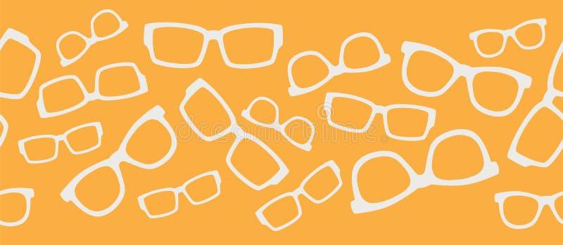 Vector Gele Witte Glazen Naadloze Grens stock illustratie