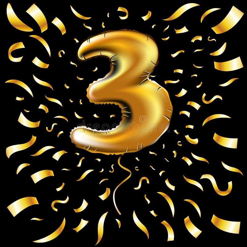 Vector gelukkig verjaardags Gouden nummer drie metaalballon 3 partijdecoratie Verjaardagsteken voor vakantie, viering, Carnaval, stock illustratie