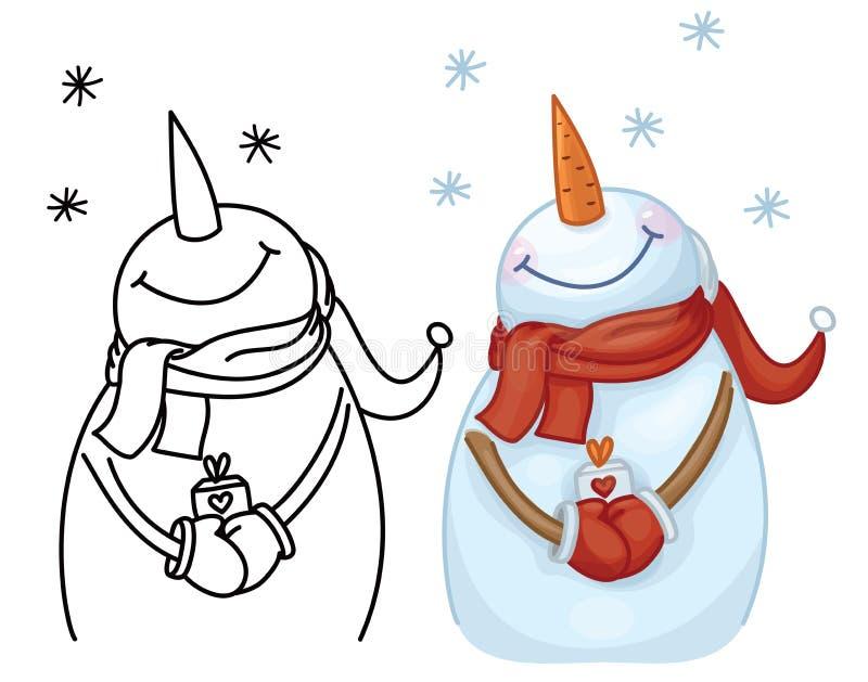 Vector gelukkige de holdingsgift van het sneeuwmanbeeldverhaal vector illustratie