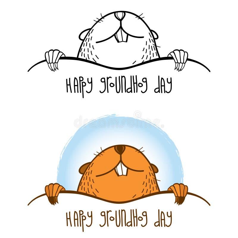 Vector Gelukkige Groundhog-dagkaart met overzichts leuke groundhog of marmot of bosmarmot in zwarte en bruin geïsoleerd op witte  royalty-vrije illustratie