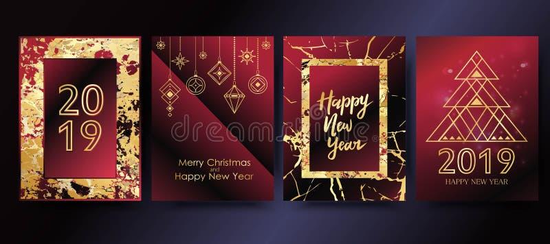 Vector Gelukkige het Nieuwjaarachtergrond van 2019 met gouden marmeren textuur De groetkaart van de Kerstmisvakantie stock illustratie