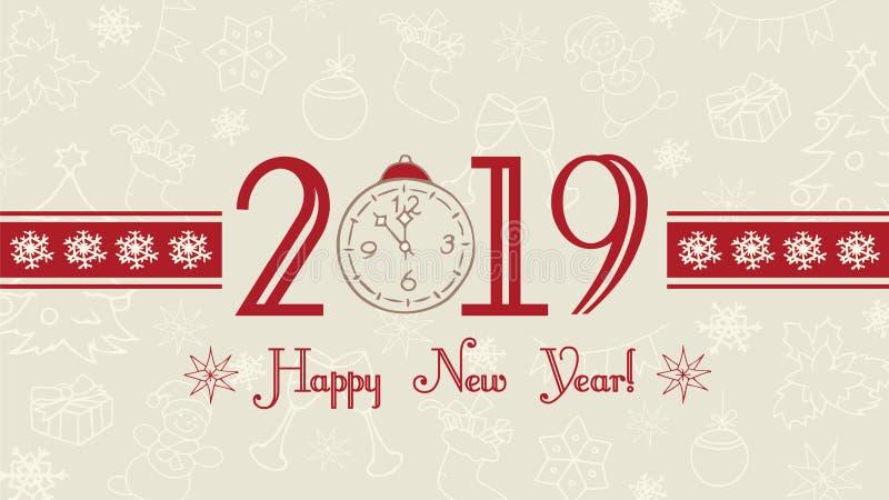 Vector Gelukkige het Nieuwjaarachtergrond van 2019, Webbanner, tekstetiket met sneeuwvlokken stock illustratie