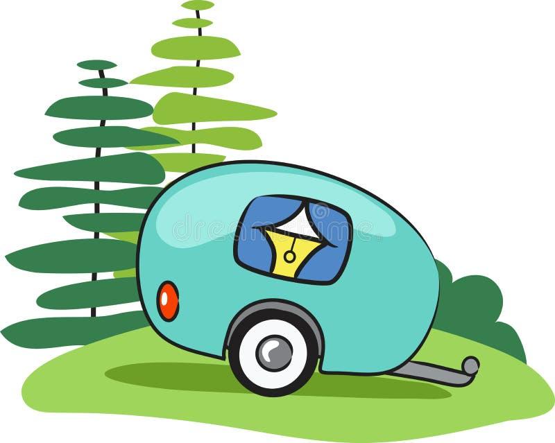 Vector gelukkige kampeerautoaanhangwagen stock illustratie