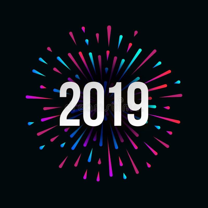 Vector Gelukkige Nieuwe het Jaar in illustratie van 2019 met feestelijke typografische samenstelling royalty-vrije illustratie
