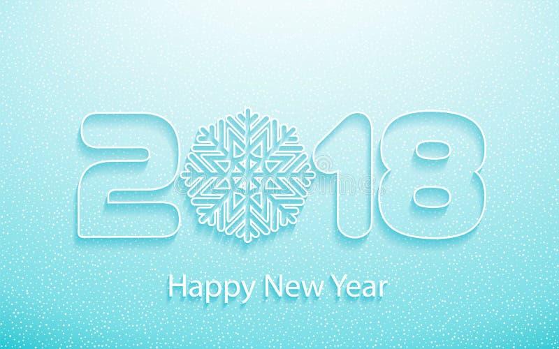Vector Gelukkige Nieuwjaar 2018 achtergrond met document knipsels royalty-vrije illustratie