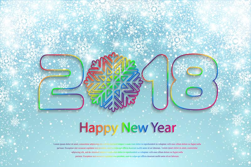 Vector Gelukkige Nieuwjaar 2018 achtergrond met document knipsels stock illustratie