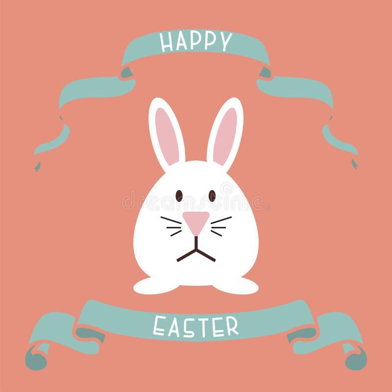 Vector gelukkige Pasen-achtergrond - creatief ontwerp Decoratief lint met konijntje De kaart van de vakantiegroet, affiche stock illustratie