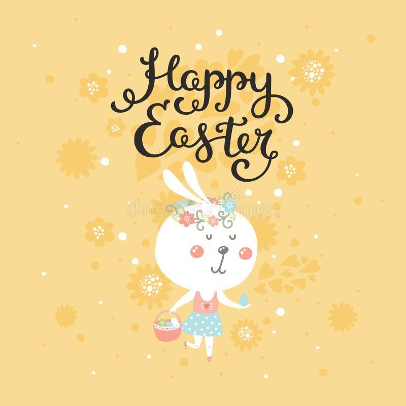 Vector Gelukkige Pasen-kaart met konijntje stock illustratie