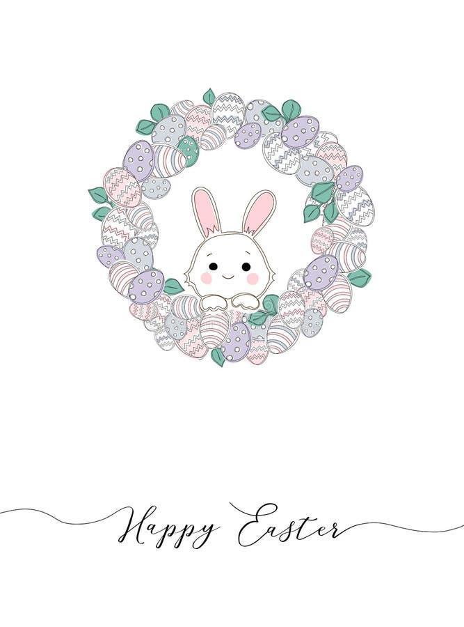 Vector Gelukkige Pasen-malplaatjes met eieren, kronen, konijn en typografisch ontwerp stock illustratie