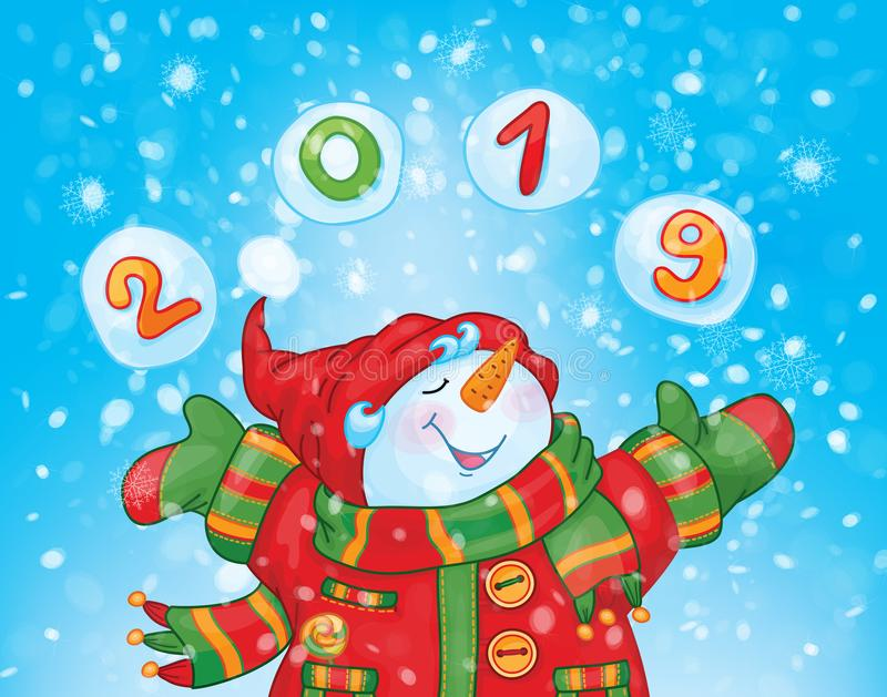 Vector Gelukkige Sneeuwman royalty-vrije illustratie