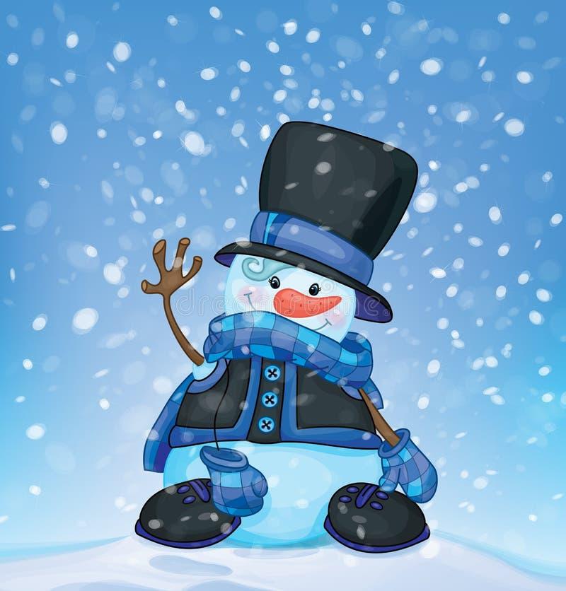 Vector gelukkige sneeuwman en sneeuwval Kerstman Klaus, hemel, vorst, zak stock illustratie