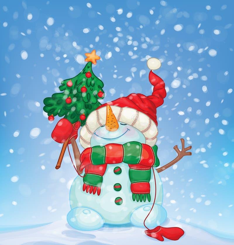 Vector gelukkige sneeuwman en sneeuwval Kerstman Klaus, hemel, vorst, zak royalty-vrije illustratie