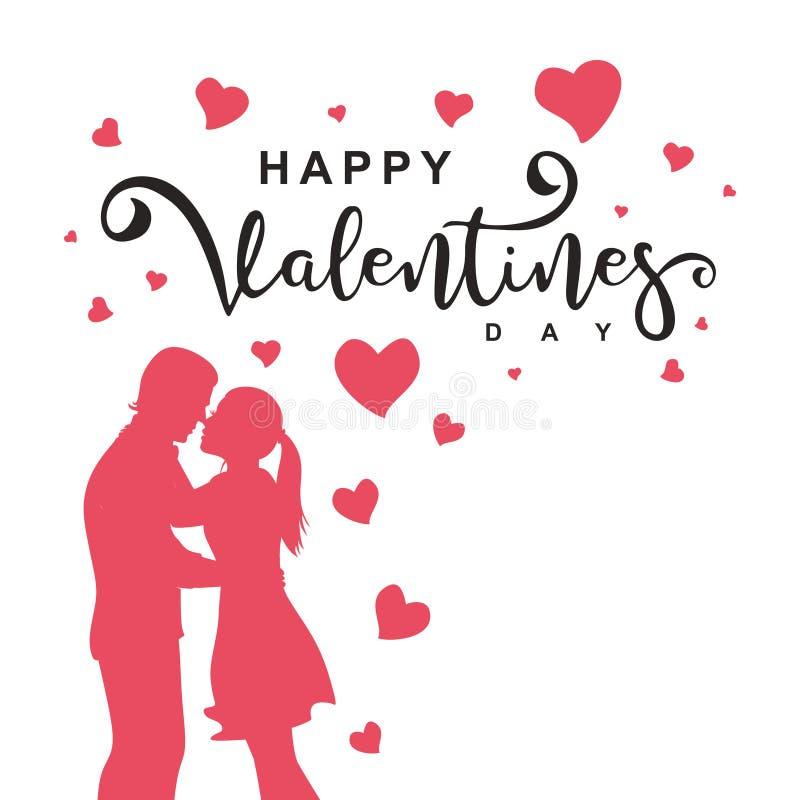 Vector gelukkige valentijnskaartendag met paarsilhouet en het decoratieve van letters voorzien op witte achtergrond Illustratie v royalty-vrije illustratie
