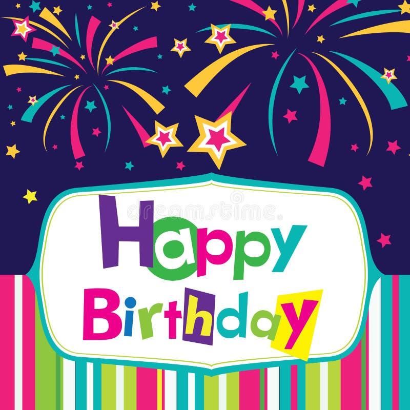 Vector gelukkige verjaardagskaart royalty-vrije illustratie