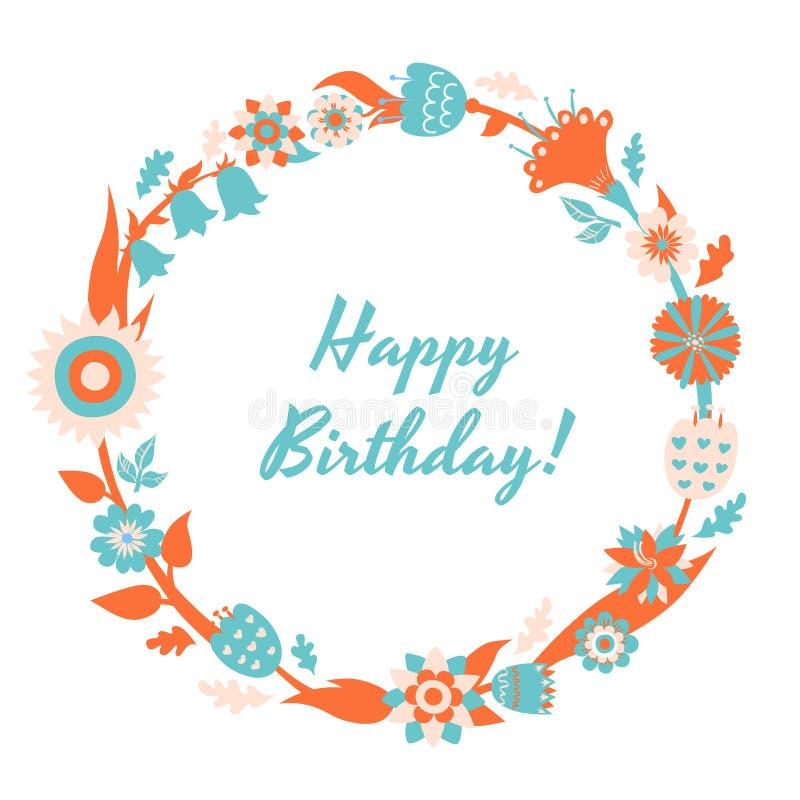 Vector Gelukkige Verjaardagskaart en achtergrond met bloemenkader royalty-vrije illustratie