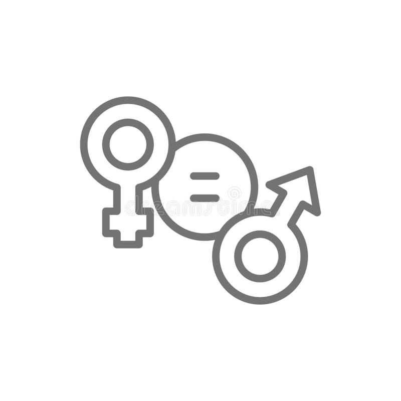 Gender equality, female and male symbol line icon. stock illustration