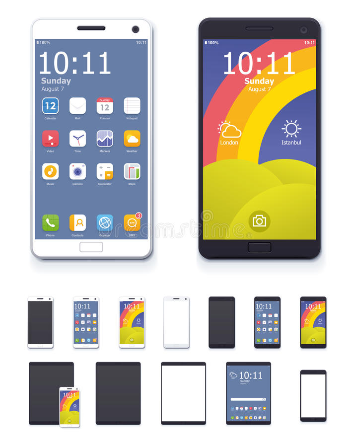 Vector generic smartphones and tablet computers with interface icon set. Set of the generic tablets and phones with system interface icons and blank screens stock illustration