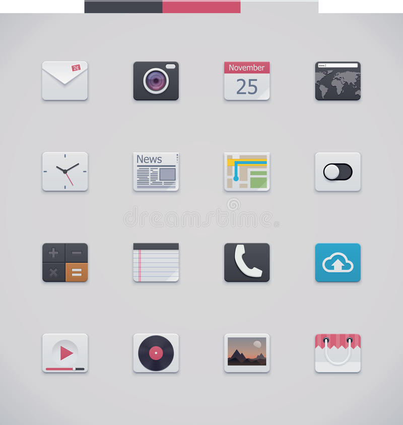Download Vector generic UI icons stock vector. Image of organizer - 33810783