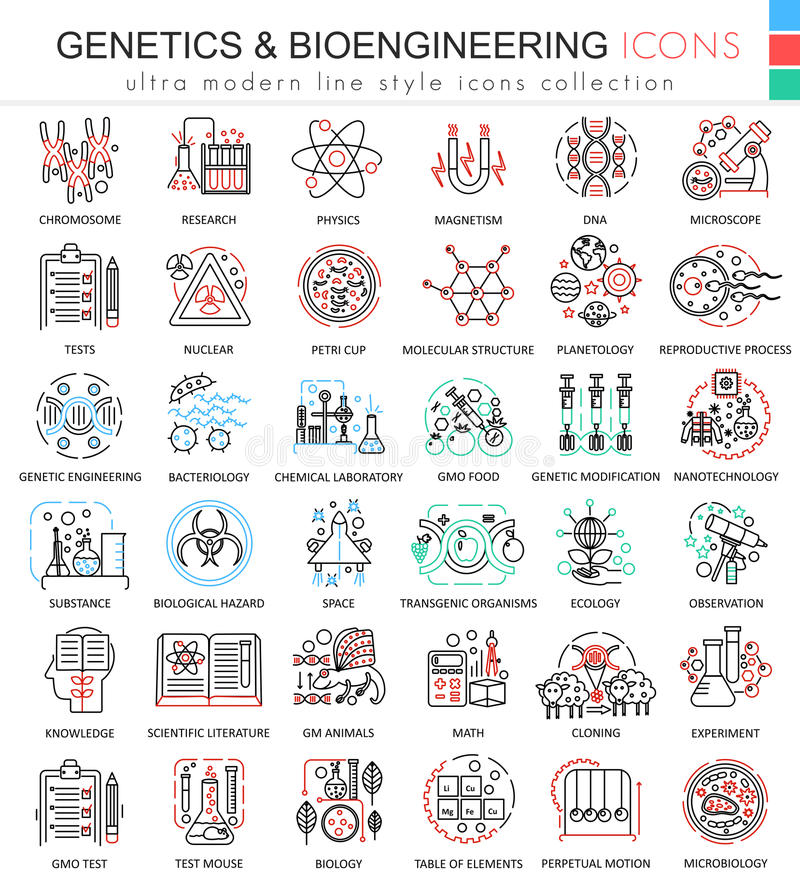 Vector Genetics and biochemistry color flat line outline icons for apps and web design. Genetics chemical high. Technology elements icons royalty free illustration