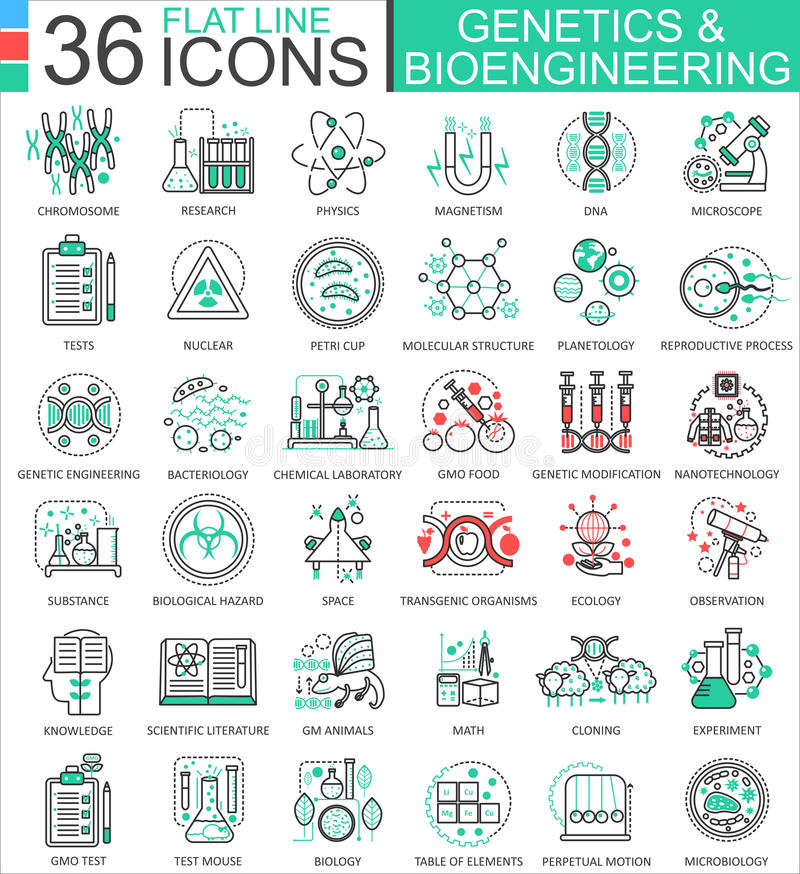 Vector Genetics and biochemistry flat line outline icons for apps and web design. Genetics chemical high technology. Icons royalty free illustration