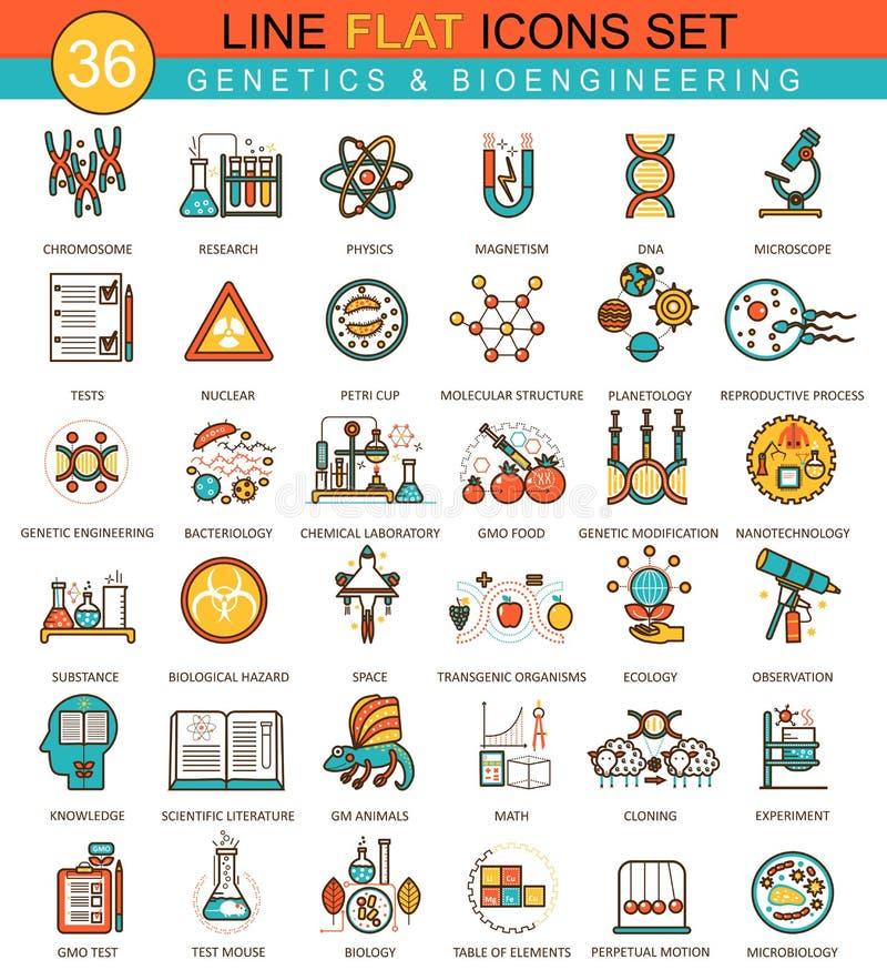 Vector Genetik und flache Linie Ikonensatz der Biochemietechnologie Modernes Design der eleganten Art für Netz lizenzfreie abbildung