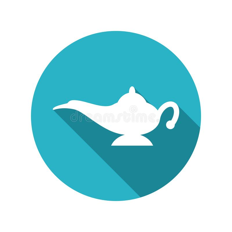 Vector genie magic aladdin lamp. Without smoke. flat icon of alladin white lantern on blue background royalty free illustration